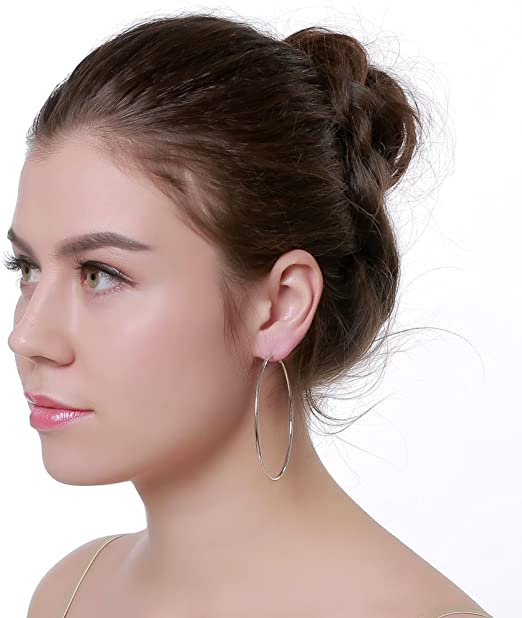 Unique Catchless Modern Minimalist Different Earring Large Silver Hoop Earrings  Big Silver Hoops A MetalRocks Original Design