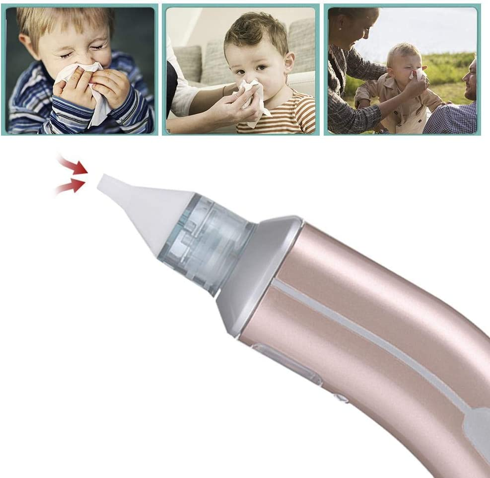 Nose Cleaner with 4 Silicone Heads for Newborns and Toddlers Electric Baby Nasal Aspirator USB