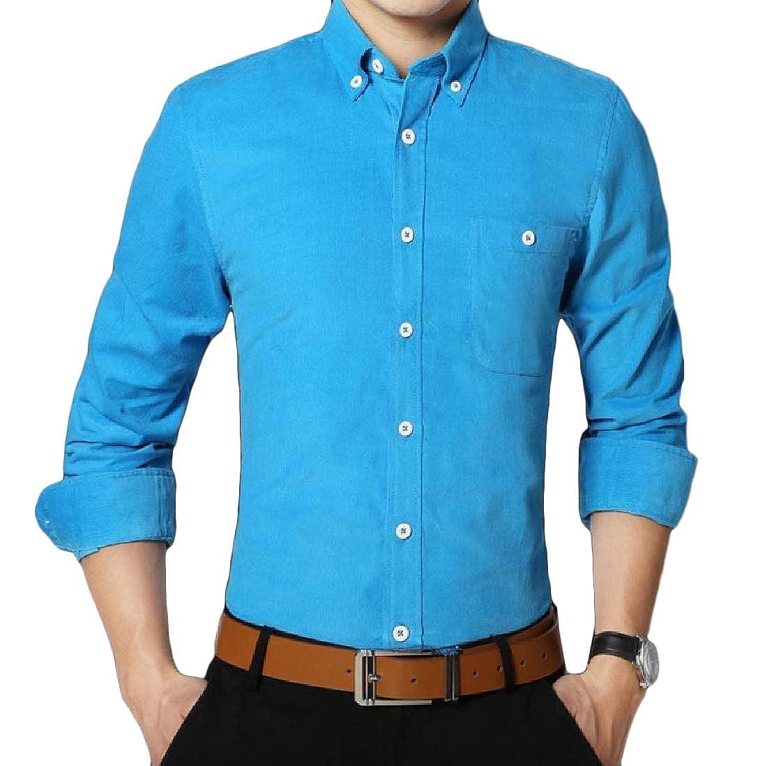 YUNY Mens Button-Down-Shirts Business Corduroy Slim Fitting Shirt Sky Blue 4XL