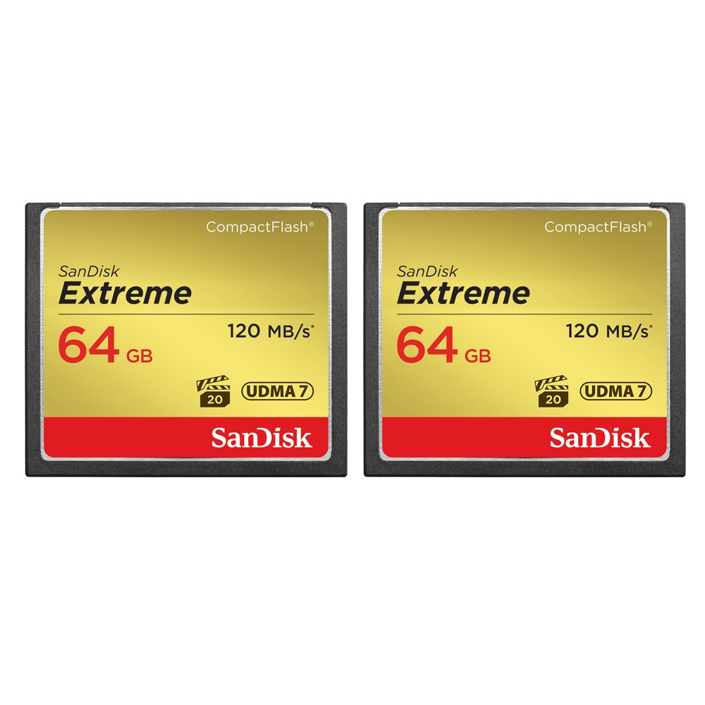 2-Pack of Sandisk Extreme CompactFlash 64GB Memory Card, (Total 128GB) UDMA 7, Up to 120 MB/s Read Speed (SDCFXS-064G-A46) by SanDisk