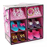 JoyABit Princess Dress up & Play Shoe and Jewelry Boutique, This Dressup Princess Jewelry Set Includes 4 Pairs of Shoes in Colors + Fashion Accessories Include Rings, Bracelets, & Earrings