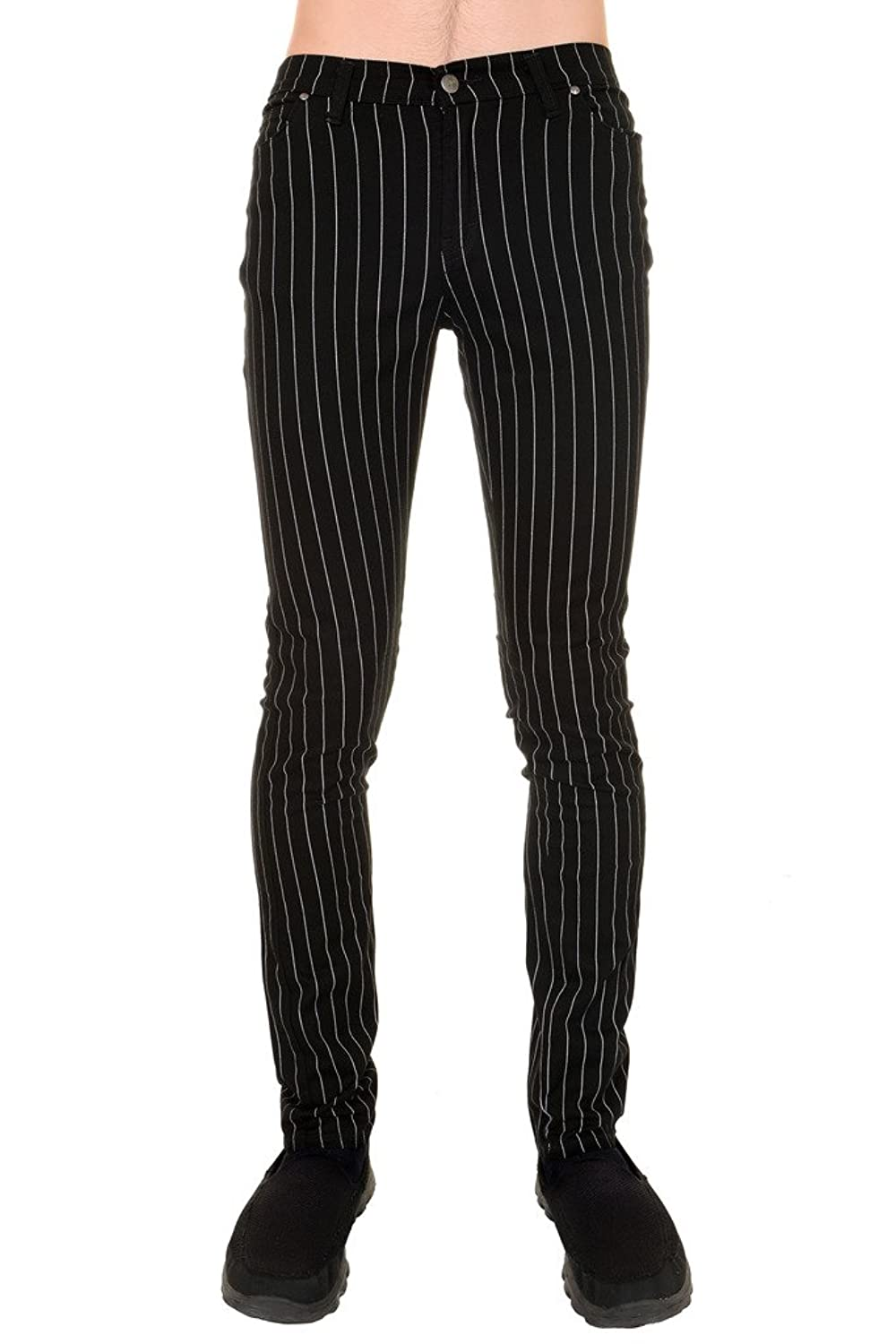 60s – 70s Mens Bell Bottom Jeans, Flares, Disco Pants Run Fly Retro 60s 70s Mod Black White Pin Striped Stretch Skinny Jeans $51.95 AT vintagedancer.com
