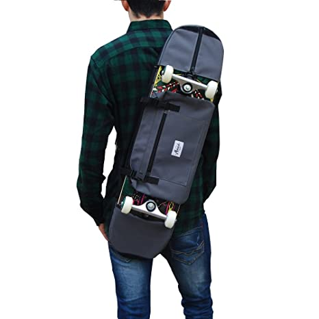Amazon.com : SKATE HOME Backpack, Shoulder Bag 7.5 8.5 inches Skateboard. Grey : Sports & Outdoors