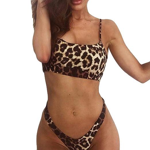 6120979ad997a Amazon.com  COOKI 2019 Women s Sexy Leopard Print Push up Padded Bikini Set  Two Piece Swimwear Swimsuit Beach Suit Bathing Suits  Clothing