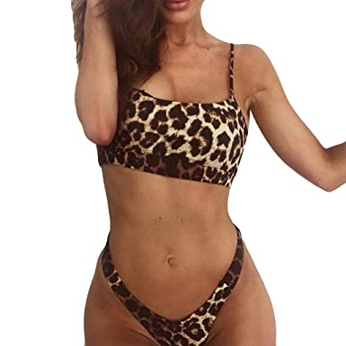95a3db5b07371 Women s Bikini Leopard Print Two Piece Low Scoop Crop High Waisted Bottoms  Swimsuits Bathing Set (