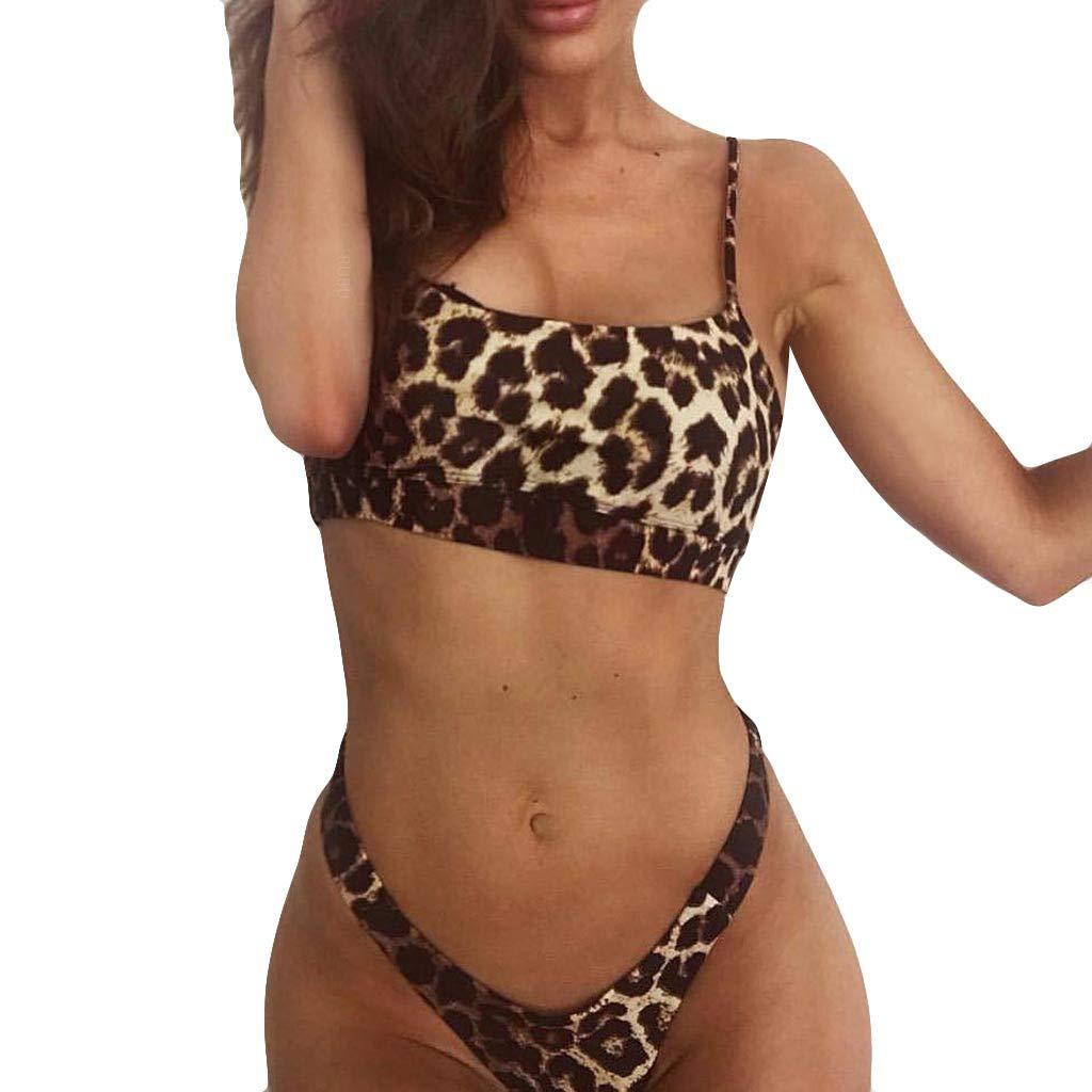 iLUGU Women Sexy Bikini Set Leopard Print Swimsuit Push-Up Padded Bra Beachwear Fashion Swimwear G-String Bottom