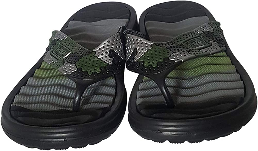 Comfort Thong Sandals for Indoor Outdoor or by Pool Side Rosdan Mens Flip Flop Sandals with a Wavy Foam Footbed