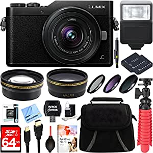Panasonic LUMIX GX850 Black 4K 12-32mm Mega OIS Lens 16MP WiFi Mirrorless Digital Camera + Two-Pack BLH7 Spare Battery + Accessory Bundle