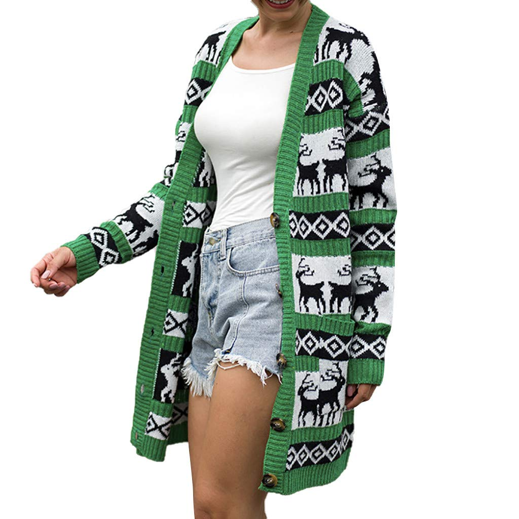 Funnygals - Womens Open Front Cardigans Long Sleeve Chunky Knit Cardigan Christmas Coats Sweater Jumper with Pockets Green by Funnygals - Clothing