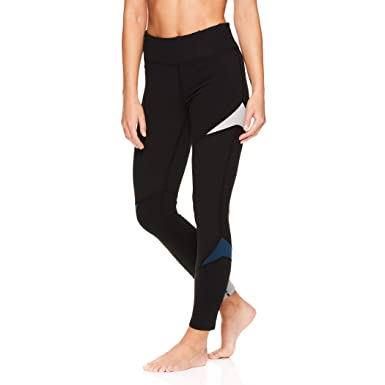 4b802de2342d0 Gaiam Women's Om Yoga Pants - Performance Compression Full Length Spandex  Leggings - Ashleigh Colorblock Black