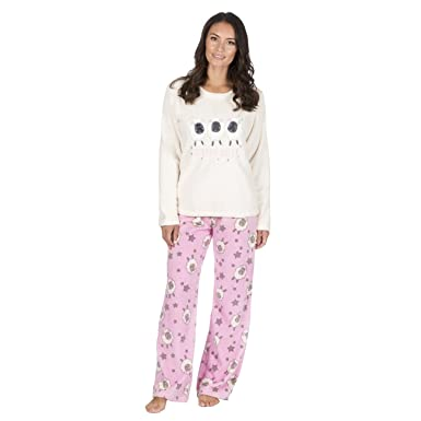 ffe60142d0 Forever Dreaming Ladies Novelty Coral Fleece Pajama Set - Long Sleeve PJ  Top   Bottoms at Amazon Women s Clothing store