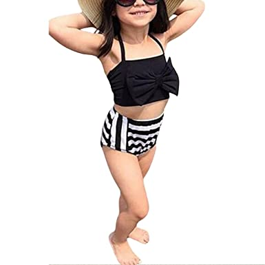 1717bd39d30b7 Image Unavailable. Image not available for. Colour  Girls Bikini Suits Two  Piece Set Spaghetti Strap Bow Tie Crop Top Striped Swimsuits
