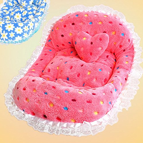 Pet Bed Cradle (Polka Dots Pet Bed Small Dogs Lace Trim Small Cradle Pet Bed (Pink))