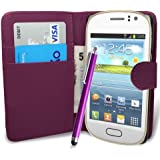 fi9® SAMSUNG GALAXY FAME GT-S6810 S6810P BOOK WALLET FLIP PU LEATHER CASE COVER POUCH + SCREEN PROTECTOR + STYLUS PEN (PURPLE)