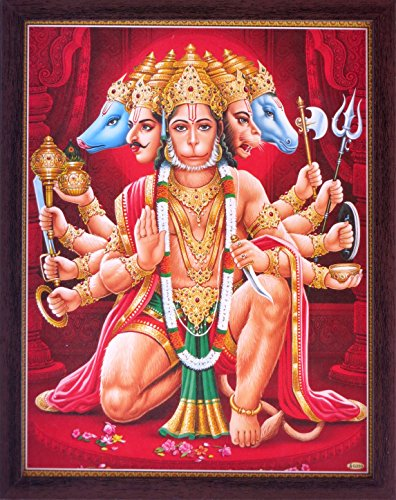 Hindu Lord Panch Mukhi Hanuman Giving Holy Blessings Blessing, a Holy Hindu Religious Poster Painting with Frame for Worship Purpose by HandicraftStore