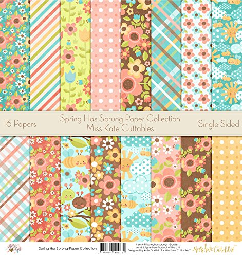 Pattern Paper Pack - Spring has Sprung - Scrapbook Premium Specialty Paper Single-Sided 12