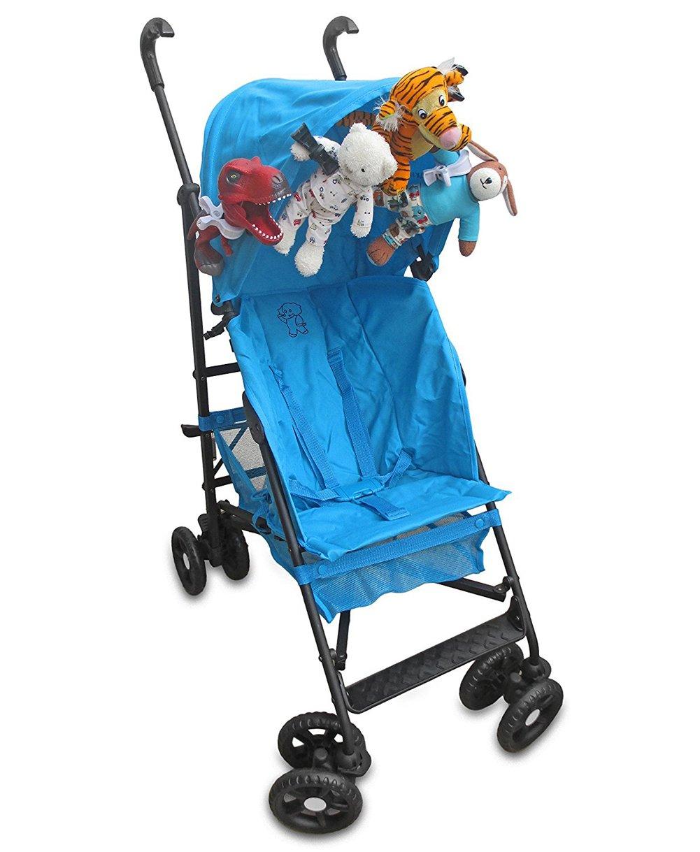 para colgar el toldo o el cochecito de beb/é Juego de 4 pinzas para cochecito de beb/é con gancho de Jiamins azul azul Talla:2.87 x 2.01