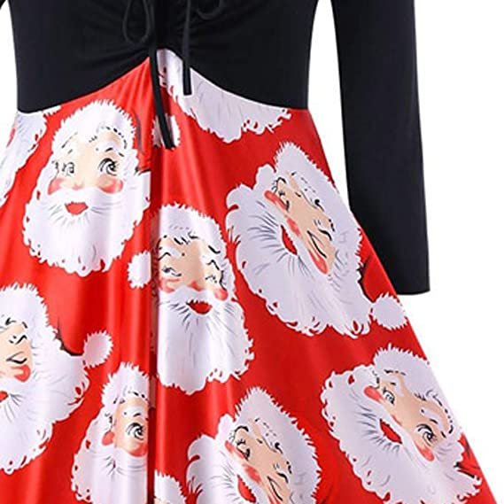 f78569292c6b vermers Women Dresses Clearance! Fashion Women V-Neck Ribbons Christmas  Dress Santa Claus Print Party Midi Dress at Amazon Women's Clothing store: