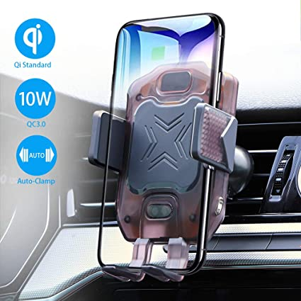10W Qi Fast Charging Wireless Charger for Car Air Vent Phone Holder with Atmosphere Light Compatible with iPhone Xs Max XR 8 Samsung S10 Note 9 NEWekey Wireless Car Charger Mount Auto Clamping
