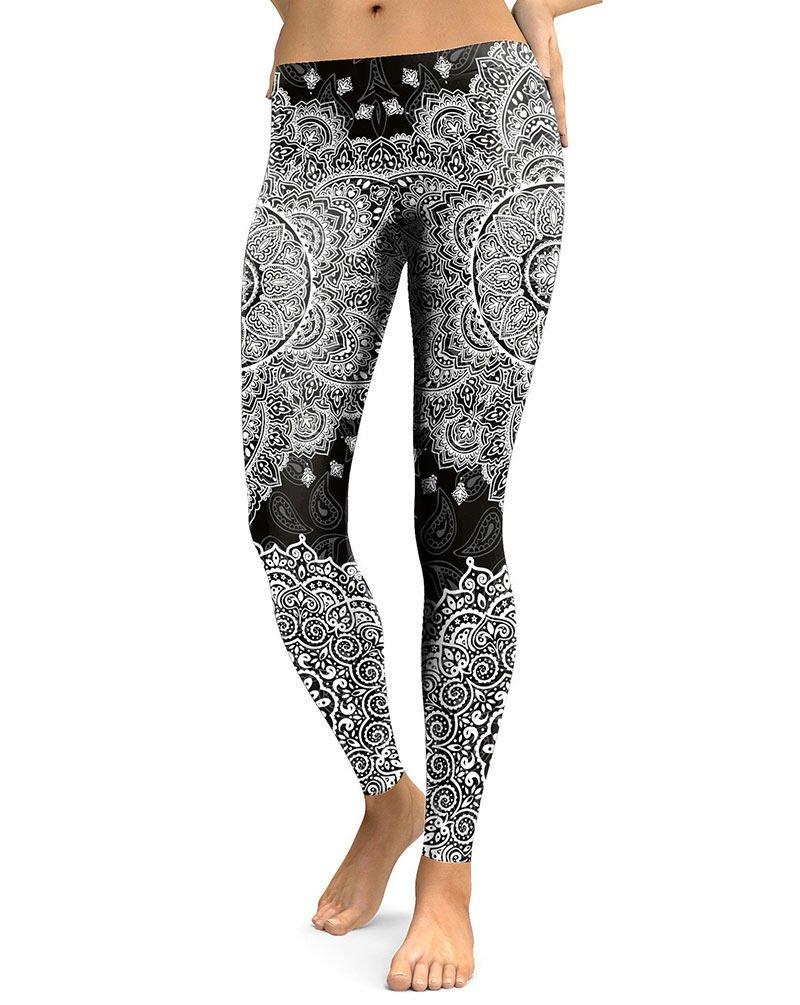 Bohemian Paisley Leggings Printed Elastic Fitness Workout Fashion White & Black Mandala Legging Pants