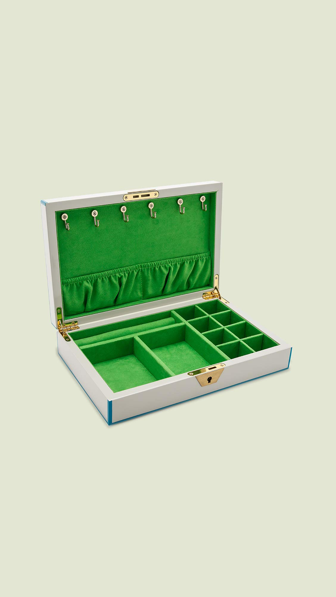 Jonathan Adler Lacquer Jewelry Box, White/Blue/Green by Jonathan Adler (Image #2)
