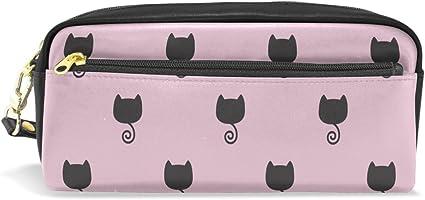 Estuche, diseño de impresión de gato pen bolsa bolsa de viaje para maquillaje tipo cartera gran capacidad Pu impermeable con cremallera compartimento para adolescentes Niñas Niños Mujeres Escuela Estudiantes, color morado: Amazon.es: