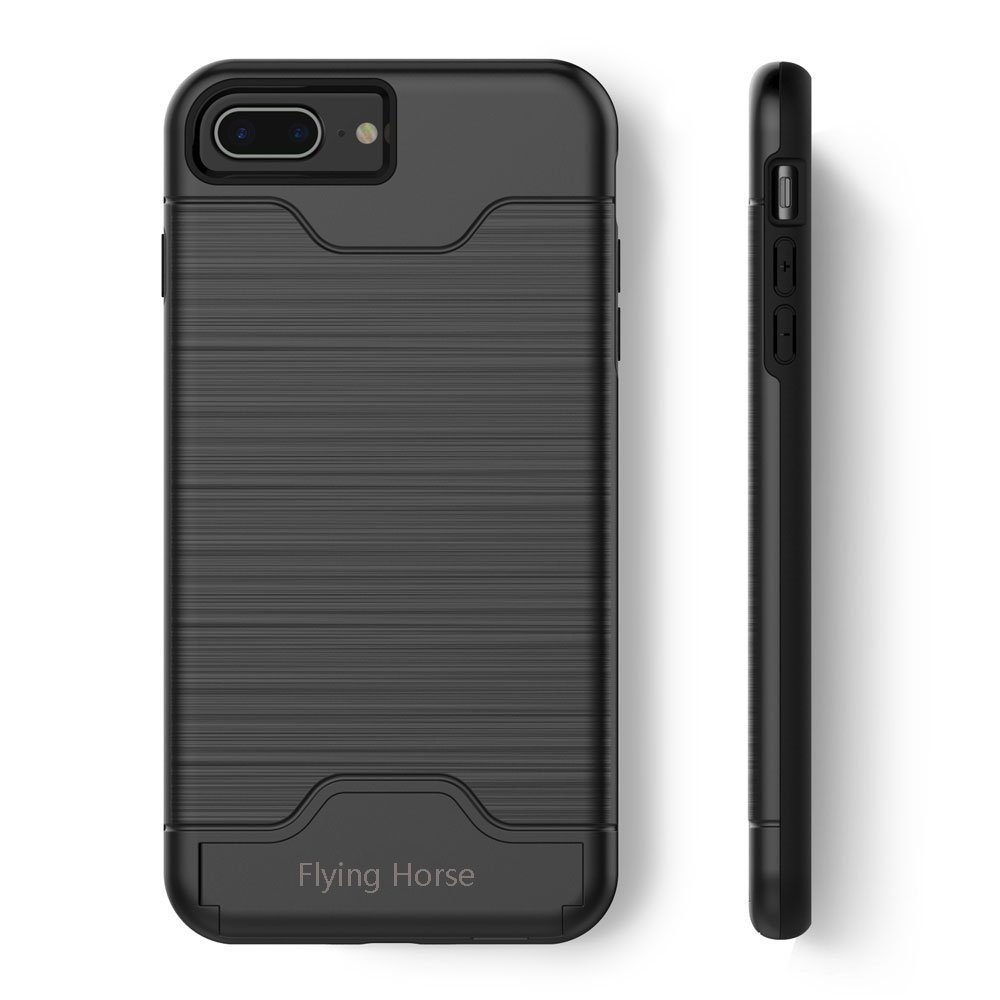 buy popular 17506 4284d iPhone 7/8 Plus Case with Kickstand and Card Holder,Flying Horse Slim  Hybrid Shockproof Protective Back Cover With Credit Card Slot and Built-In  ...