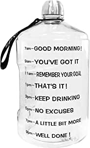 QuiFit Gallon Water Bottle Leak-Proof Drinking Water Jug for Fitness Workout Large Capacity Sports Water Container with Time Marker