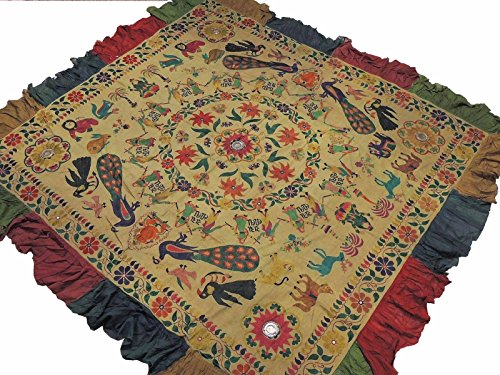 NovaHaat Khaki Kutch Embroidery Wall Hanging - Vintage Huge Ethnic Indian Tapestry with Ganesha, Lakshmi and Peacock Motifs and Mirror Work ~ 83'' x 77'' by NovaHaat
