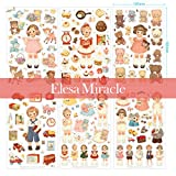 package stickers - Elesa Miracle 6 sheets Girl Diary Album Sticker, Children Craft Scrapbooking Sticker Value Set