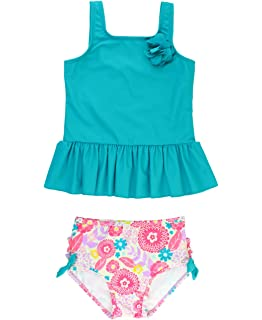 RuffleButts Baby//Toddler Girls Two Piece Mesh Tankini Swimsuit with Ruffles