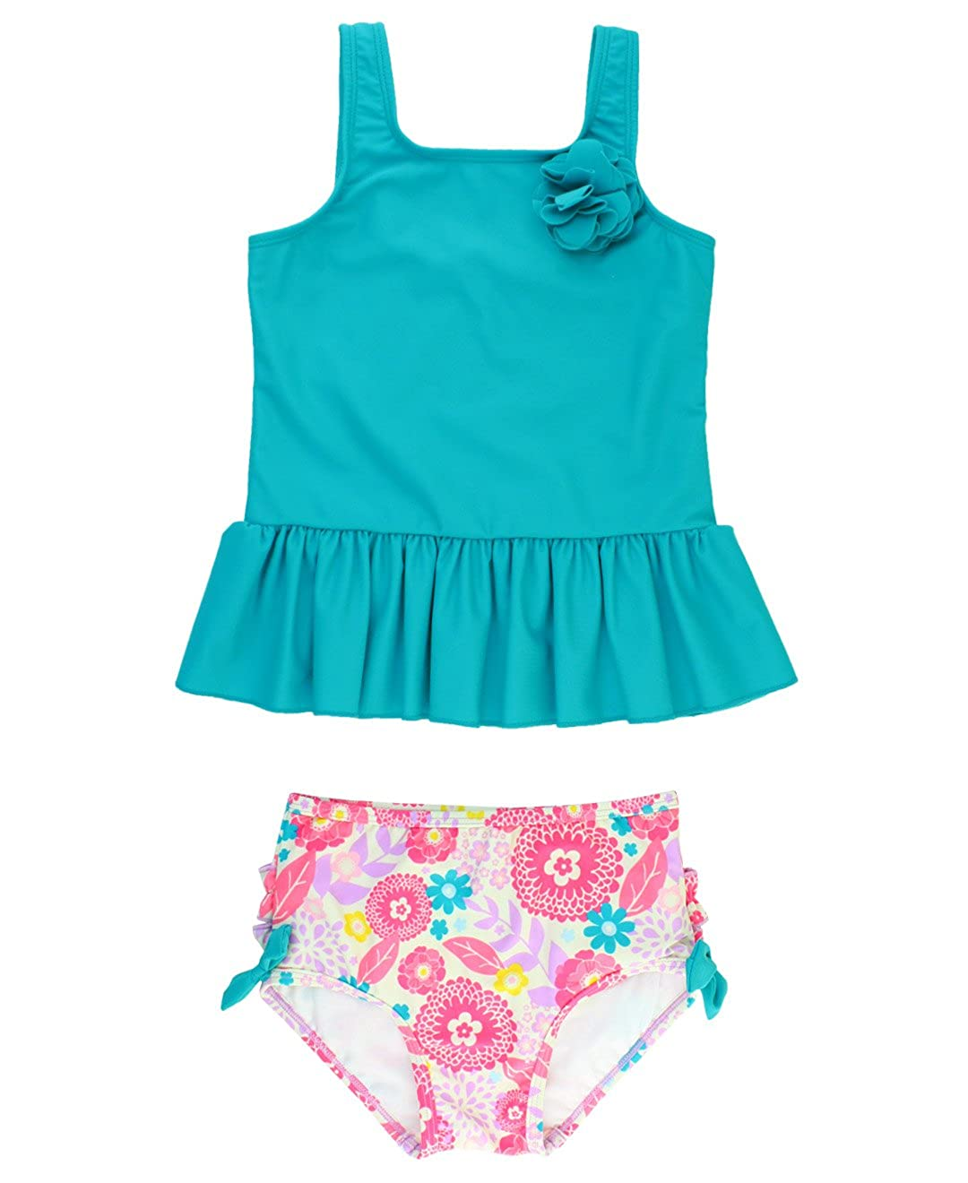 RuffleButts Baby/Toddler Girls 2-Piece Ruffle Peplum Tankini Swimsuit Set SWSYYXX-2PPP-SC-BABY