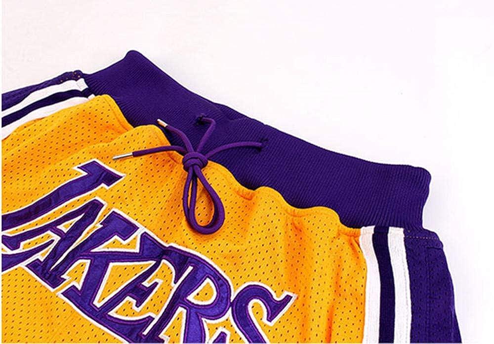 SDSPORT Herren Basketball Jersey Hose Lakers 23 James Sport Shorts Gelbe Stickerei Training Wettbewerb Abgeschnitten Hose F/ünf Hose