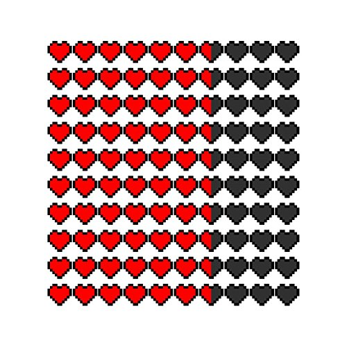 (10) Heart Health Bar Decals - 1
