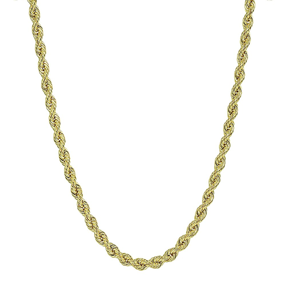 14K Yellow Gold 2.5mm Hollow Twist Rope Chain Necklace for Men and Women, 24 Inches