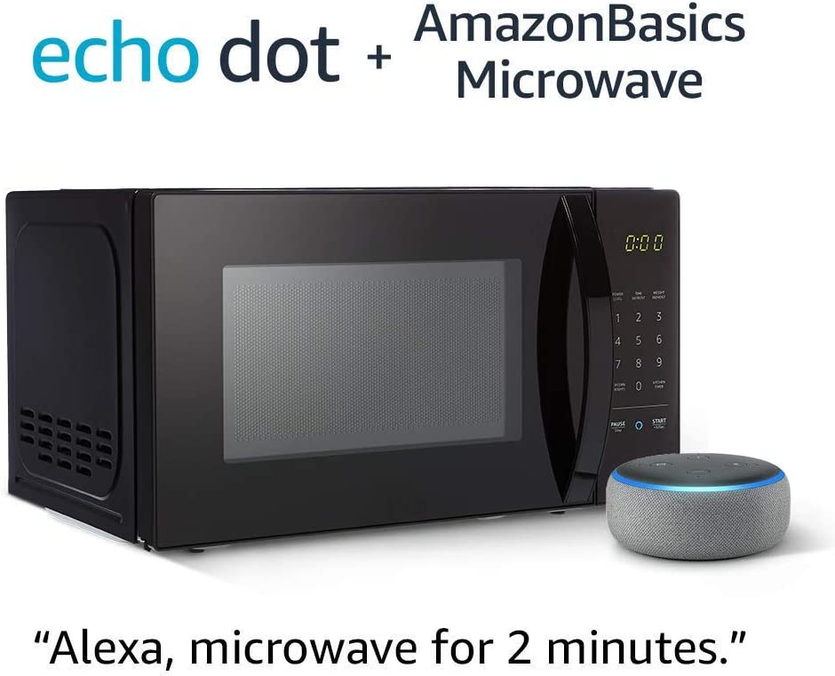 AmazonBasics Microwave bundle with Echo Dot (3rd Gen) - Heather Gray