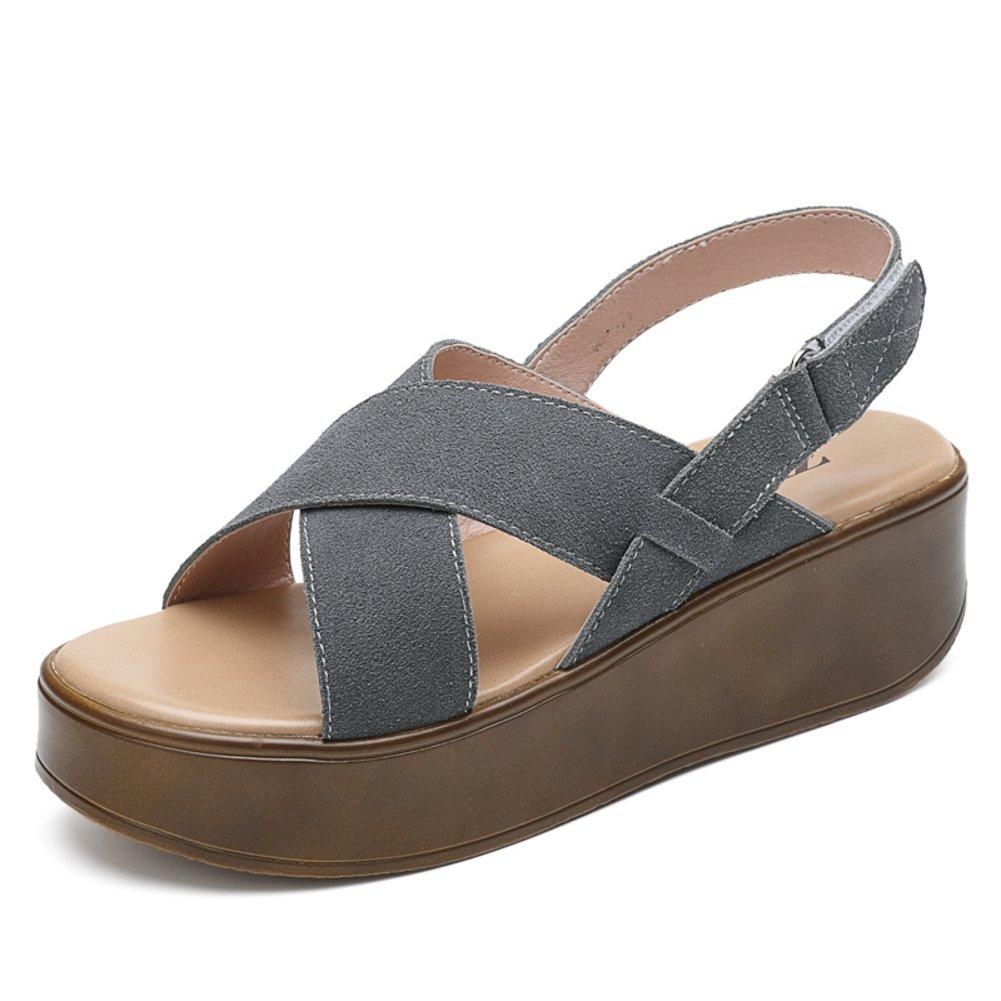 Sommer Klobige PlateauSandale,Frauen Flache Sandalen Schuhe,Leder Damenschuhe,Casual Student Sandalen Flache B 72b17a