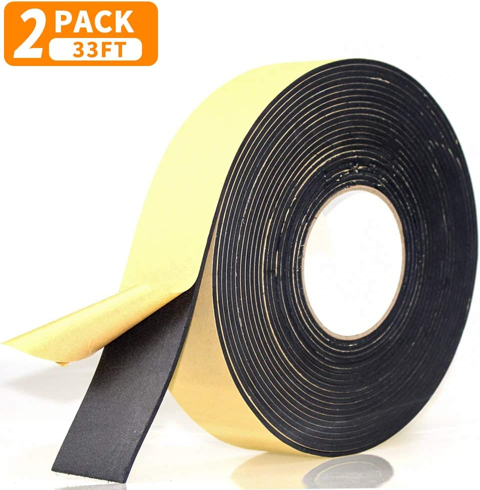 "Foam Insulation Tape Adhesive, Seal, Doors, Weatherstrip, Waterproof, Plumbing, HVAC, Windows, Pipes, Cooling, Air Conditioning, Weather Stripping, Craft Tape (66 Ft x 1/8"" x 2"")"