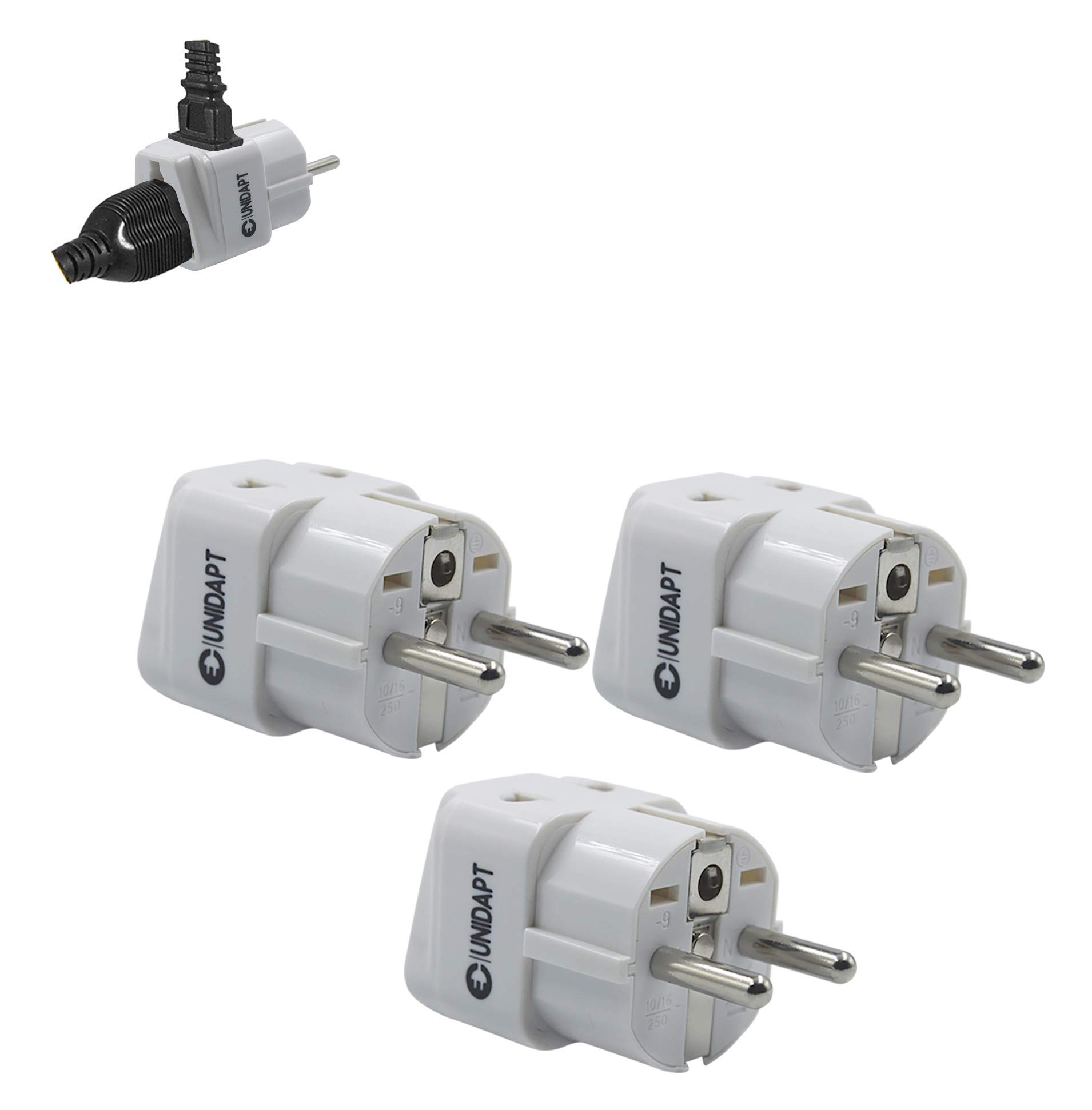 European Plug Adapter USA US to EU Europe - Unidapt Power Adapter Plug Charger Converter Schuko E-F Plug Adaptor (3 piece)