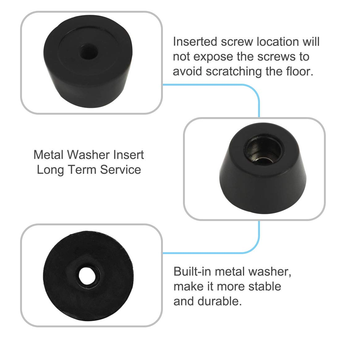 D24x20xH13mm uxcell 40pcs Rubber Feet Bumper Buffer Feet Furniture Table Cabinet Leg Pads Anti-slip with Metal Washer
