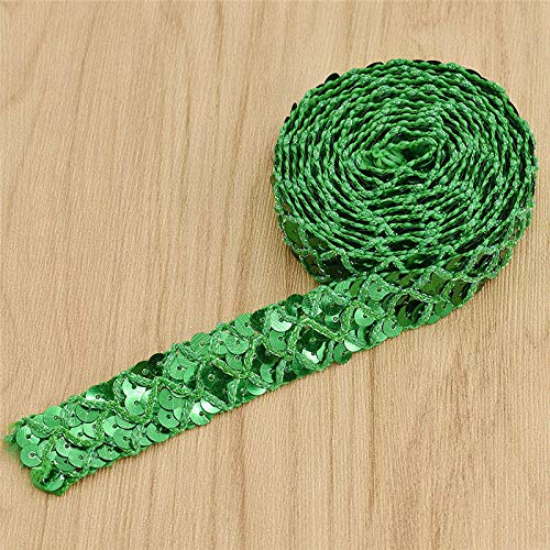 Monkey Drapery Fabric - MOPOLIS 2yards Colorful Sequined Trim Lace Ribbon DIY Wedding Party Garment Accessories | Color - Green