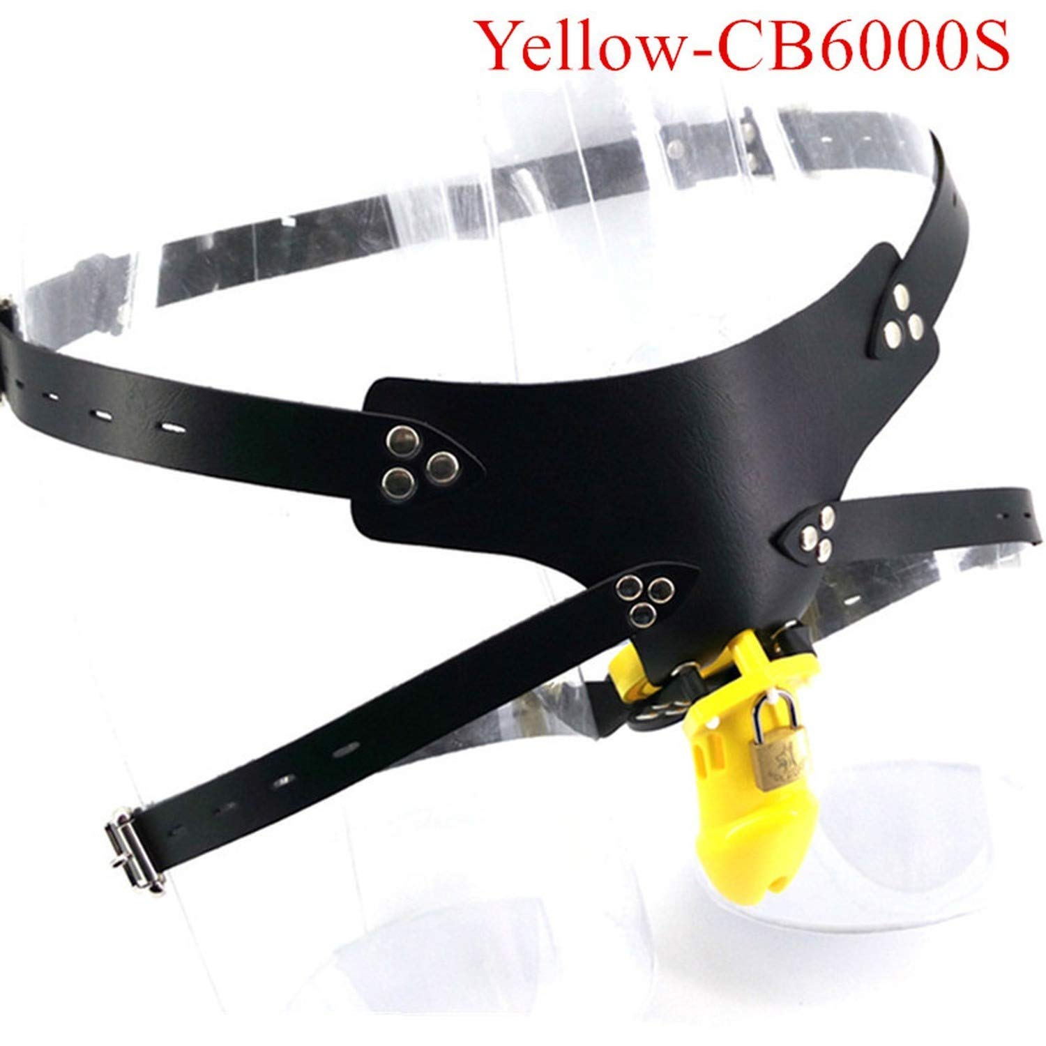 Yellow Plastic Strap On Chasteté Cage Male Chasteté Device with 5 Base Rings Cage Funny Toys for Men,Yellow T-Shirt