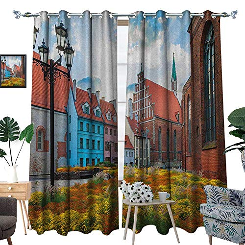 (Warm Family Victorian Room Darkening Wide Curtains Old City Riga Latvia Capital with Historical Buildings Medieval Town Image Print Customized Curtains W84 x L96 Multicolor)