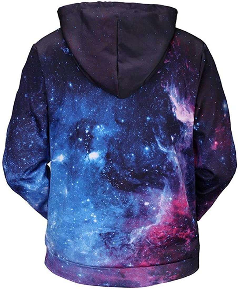 Lenfesh Sudadera con Capucha de Mangas Largas Patrones Galaxia de Universo 3D Impresa Oto/ño e Invierno Tops Blusa Outwear para Hombre