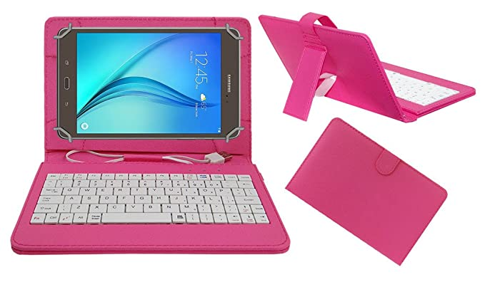 Acm USB Keyboard Case Compatible with Samsung Galaxy Tab A T355y Tablet Cover Stand nbsp;Study Gaming Direct Plug  amp; Play   Pink