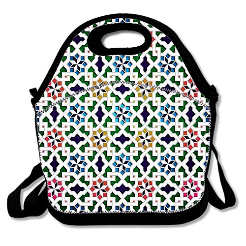 Beautiful Oriental Flower Pattern 8 Insulated Neoprene Lunch Bag-Removable Shoulder Strap-Reusable Thermal Thick Lunch Tote/Lunch Box/Cooler Bag For Women,Teens,Girls,Kids,Adults - Flower Pattern Removable Strap