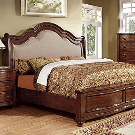 Bellavista Traditional Elegant Style Brown Cherry Finish Eastern King Size  Bed Frame Set