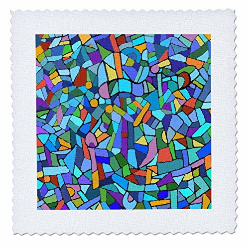 3dRose Bright Vibrant and Colorful Blue Gaudi Inspired Mosaic Pattern - Stain Glass Like - Multicolored - Quilt Square, 14 by 14-Inch (qs_58376_5) - Multi Colored Mosaic Glass