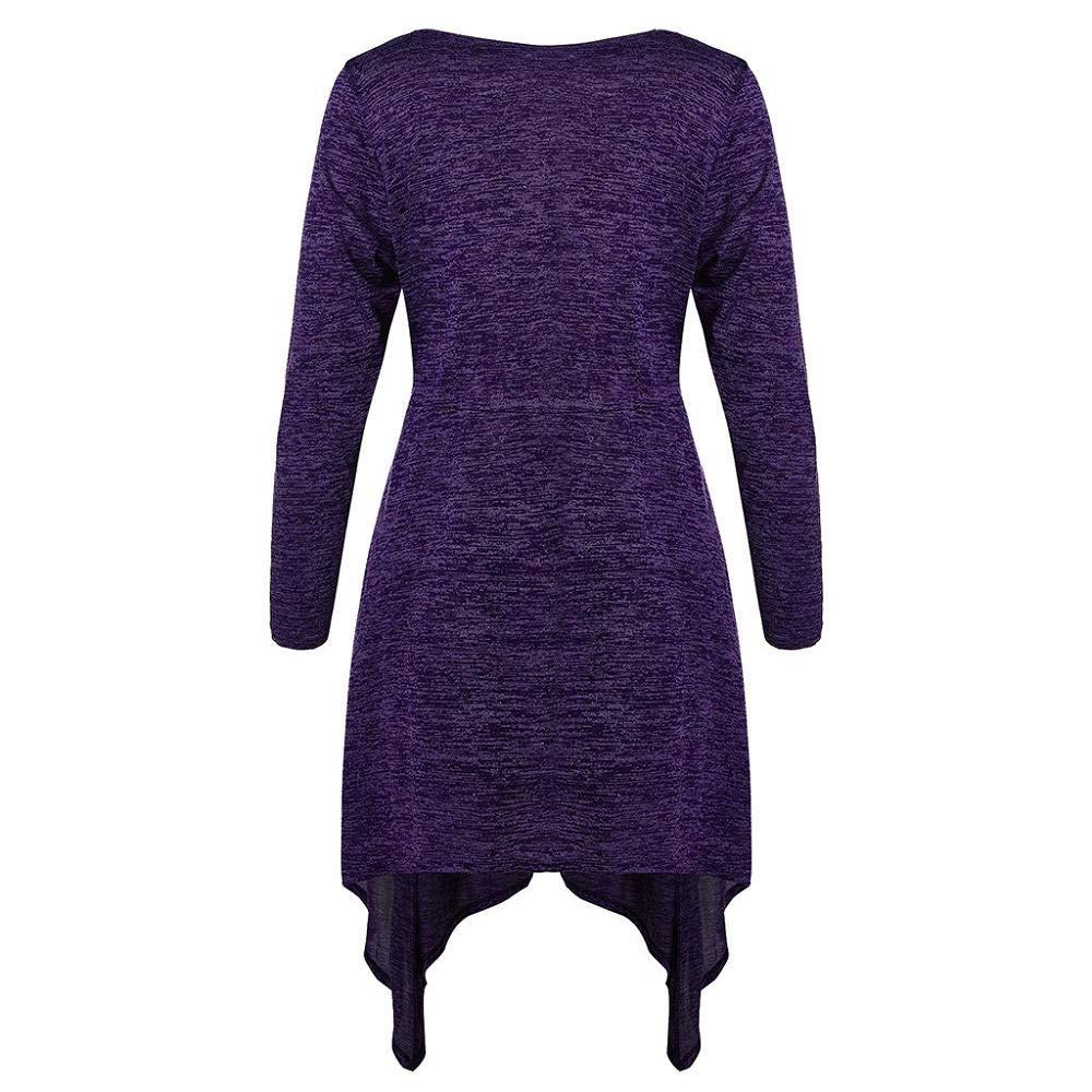 STORTO Fashion Women Plus Size Button Asymmetrical Space Dyed V-Neck Long T-Shirt Tops