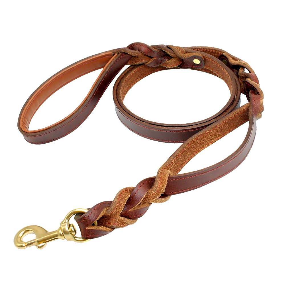 PET ARTIST Braided Leather Dog Leash with Double Traffic Handle 5ft Long Training Leads Great for Medium Large Dogs Control Brown